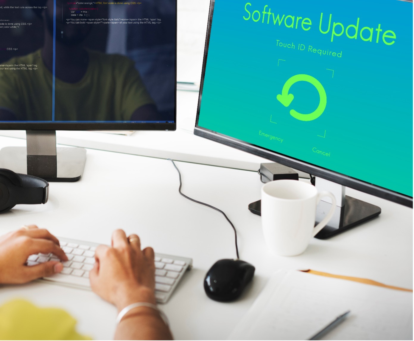 Bildschirm mit Software Update